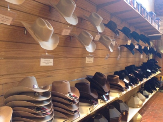 Just a sampling of the hats available at The Wrangler
