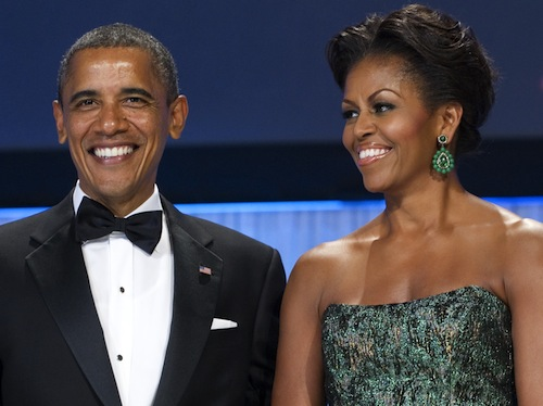 Michelle Obama in vintage Kenneth Jay Lane earrings