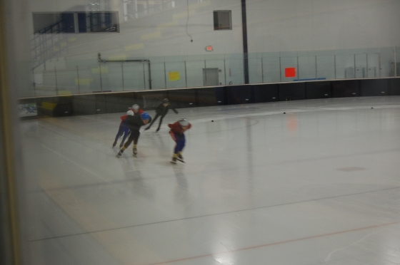 The Bay State Speed Skaters going really fast