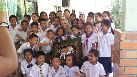 The children Joslin taught in Thailand