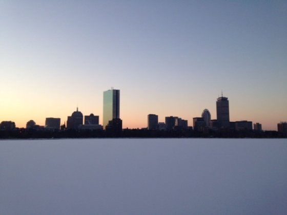 Scenes from a sunrise run along the frozen Charles River